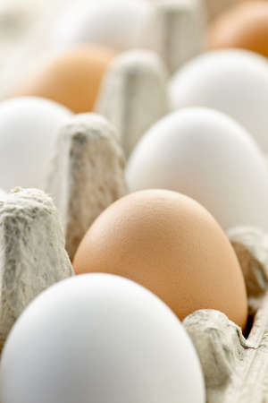 Closeup of white and brown eggs in carton