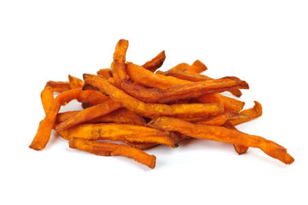 sweet potatoes: Pile of sweet potato or yam fries isolated on white background