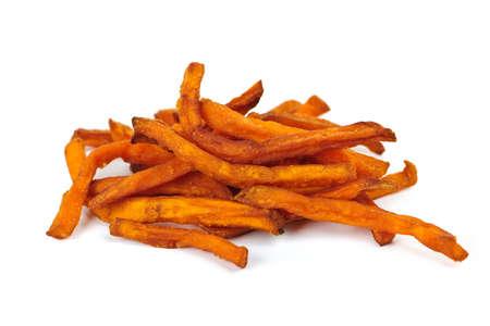 french fried potato: Pile of sweet potato or yam fries isolated on white background