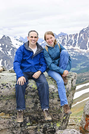 Father and daughter enjoying scenic Canadian Rocky Mountains view in Jasper National park Stock Photo - 7745811