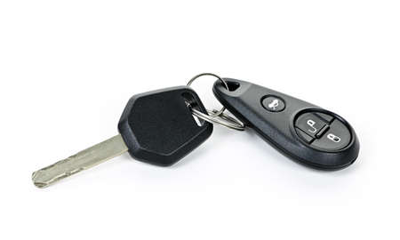 Car key and keychain fob isolated on white background photo
