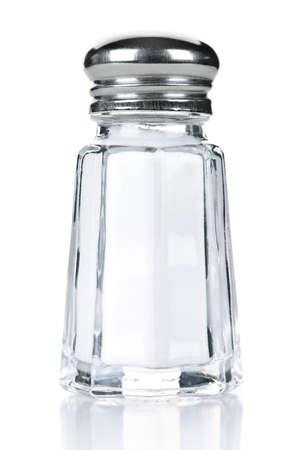 shaker: Glass salt shaker isolated on white background