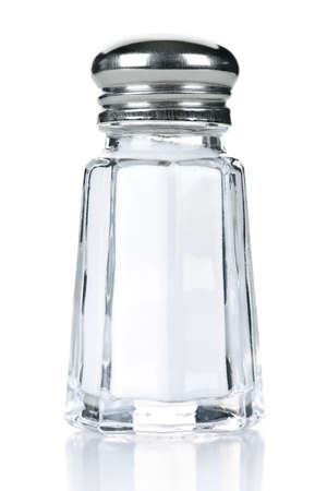 Glass salt shaker isolated on white background