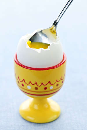 Closeup of soft boiled egg in cup with spoon Stock Photo - 7776348