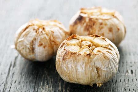 Close up of fresh roasted garlic bulbs