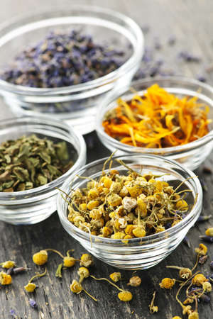 chamomile flower: Assortment of dry medicinal herbs in glass bowls Stock Photo