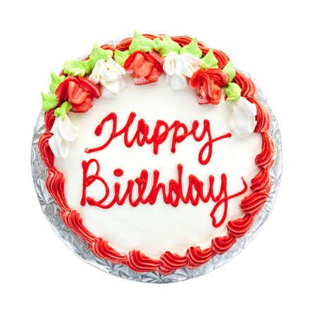torte compleanno: Torta di compleanno con scrittura da sopra isolato sul bianco