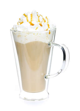 caffe: Caffe latte coffee with whipped cream isolated on white background