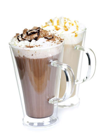 Hot chocolate and coffee beverages with whipped cream isolated on white background Imagens