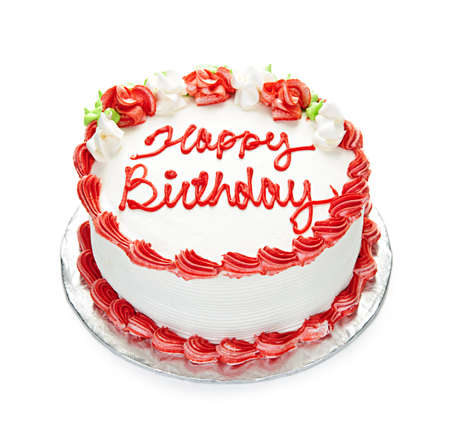 happy birthday cake: Pastel de cumplea�os con la guinda de blanco y rojo aislado en blanco