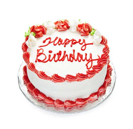 auguri di buon compleanno: Torta di compleanno con glassa bianca e rossa isolata on white  Archivio Fotografico