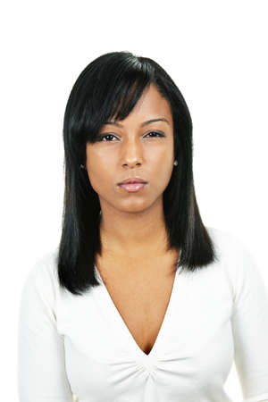 scowl: Angry black woman portrait isolated on white background