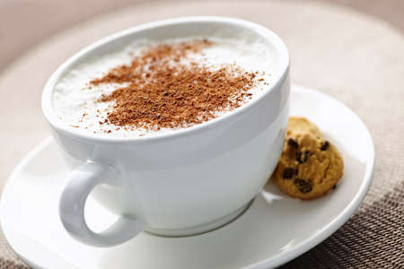 Cappuccino or latte coffee in cup with frothed milk and cookies Stock Photo - 8066946