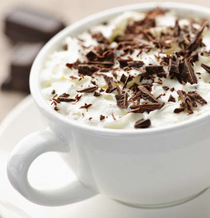 Cup of hot cocoa with shaved chocolate and whipped cream photo