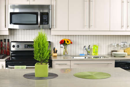 soapstone: Modern kitchen interior with natural stone countertop