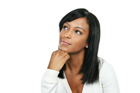 Thoughtful black woman looking up portrait isolated on white background