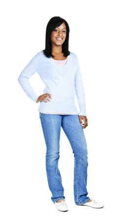 mujer cuerpo completo: Seguros de mujer negra de pie aislados sobre fondo blanco