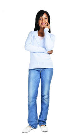 thinking woman: Confident black woman standing isolated on white background