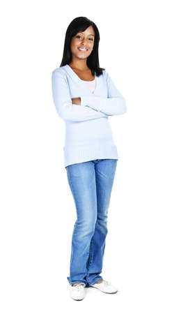 Confident black woman with arms crossed standing isolated on white background
