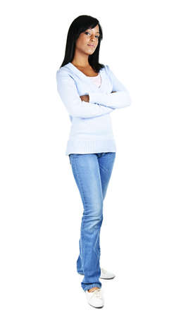Serious black woman with arms crossed standing isolated on white background photo
