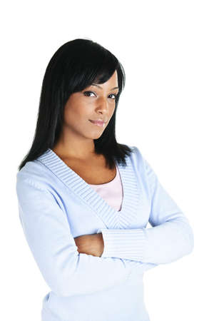Serious black woman with arms crossed isolated on white background photo
