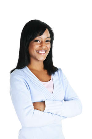 black sweater: Smiling black woman with arms crossed isolated on white background Stock Photo