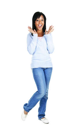 Excited surprised black woman standing isolated on white background photo