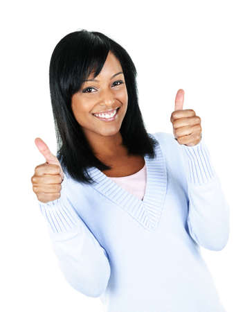 Smiling black woman giving thumbs up gesture isolated on white background photo