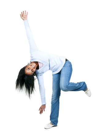 Playful black woman isolated on white background photo