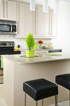 Modern kitchen interior with island and natural stone countertop photo