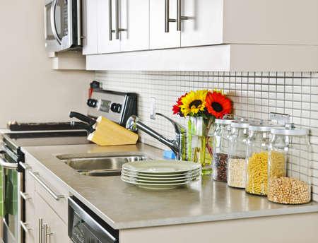 Moderne kleine keuken interieur met natuur stenen aanrecht