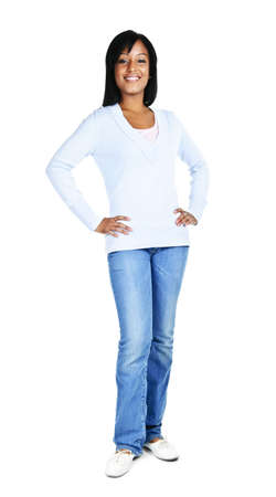 Confident black woman standing isolated on white background Stock Photo - 8163197