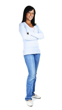 Confident black woman with arms crossed standing isolated on white background Stock Photo - 8163195
