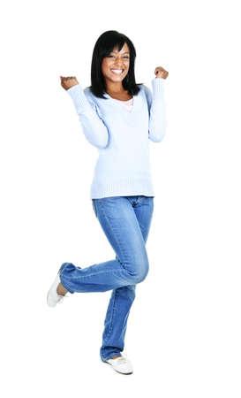 african girls: Happy black woman celebrating isolated on white background