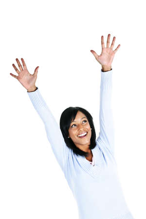 Happy black woman celebrating isolated on white background photo