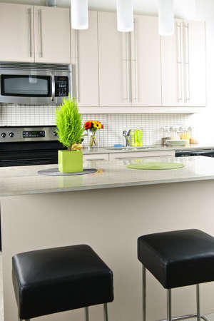 Modern kitchen interior with island and natural stone countertop Imagens - 8264780