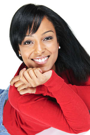 mixed race woman: Portrait of black woman smiling laying isolated on white background Stock Photo