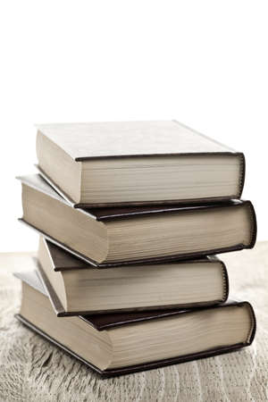 Stack of old hard cover leather bound books Stock Photo - 8338235