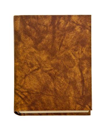 古い空白ハードカバー革装白い背景で隔離の本 写真素材