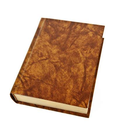 오래 된 빈 하드 커버 가죽 바인딩 된 책 흰색 배경에 고립 된
