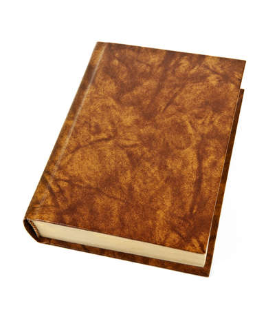 volumes: Old blank hardcover leather bound book isolated on white background