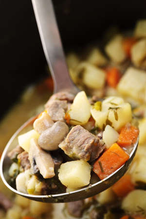 Hearty beef and potatoes stew with vegetables served with ladle photo