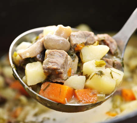 beef stew: Hearty beef and potatoes stew with vegetables served with ladle