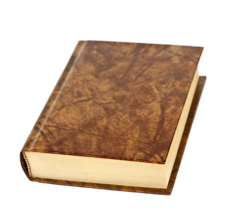 Old blank hardcover leather bound book isolated on white background