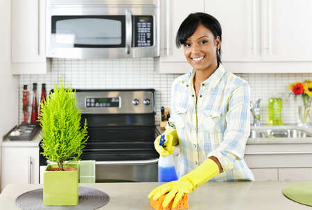 Smiling young black woman with sponge and rubber gloves cleaning kitchen Stock Photo - 8878892