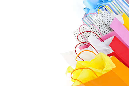 gift bag: Many colorful shopping bags on white background Stock Photo