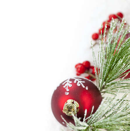 Red Christmas decoration with pine needles with copy space photo