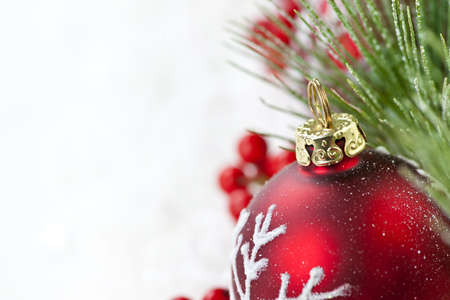 Red Christmas decoration with pine needles with copy space Stock Photo - 8967340