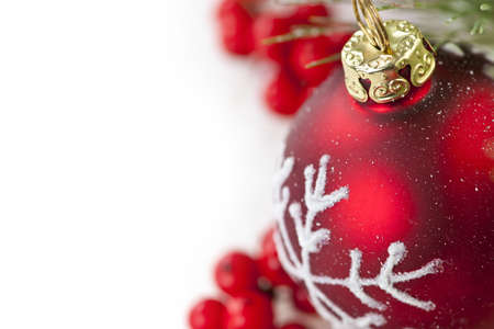 Red Christmas decoration with pine needles with copy space Stock Photo