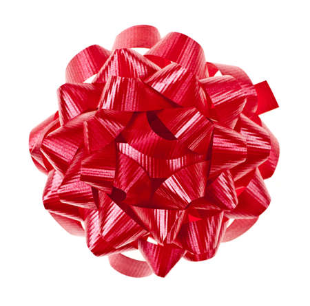Bow de cadeau de Noël rouge du ruban isolé sur fond blanc Banque d'images - 8967329